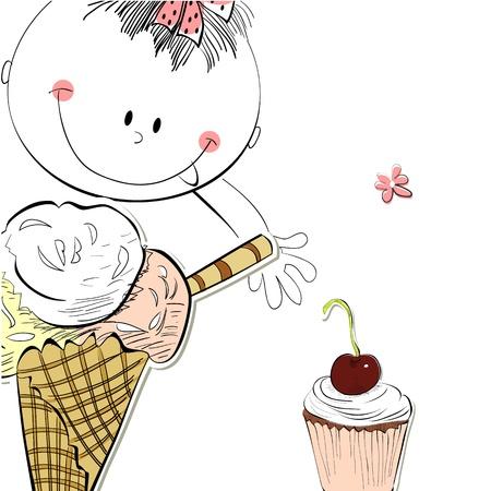 kid eat: Chica con helado