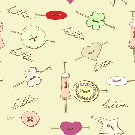 Seamless wallpaper with various sewing button Vector