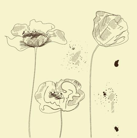 postcard background: Stylized flowers  Illustration