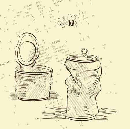 Two crumpled jars Illustration
