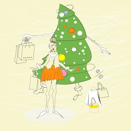 Woman with christmas shopping bag Stock Vector - 11476482