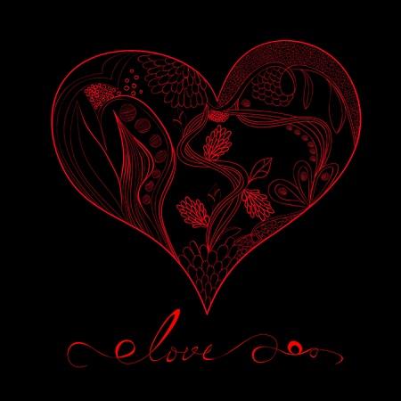 Decorative heart with inscription love Vector