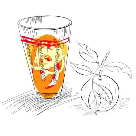 mandarins: Glass of fresh mandarin juice
