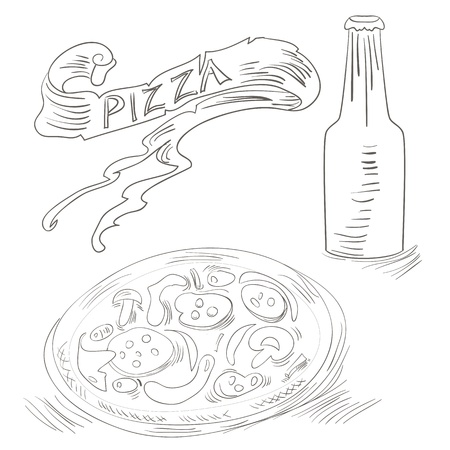 hot water bottle: Sketch with Pizza and Bottle of soda
