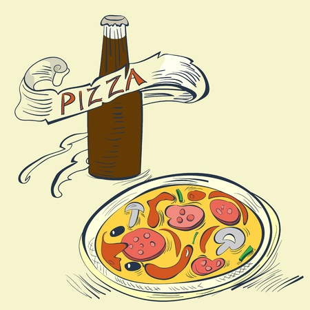 hot water bottle: Pizza with Bottle of soda