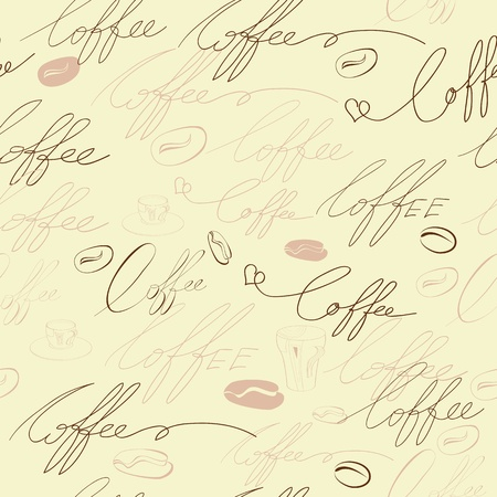 Seamless background with coffee inscription Vector