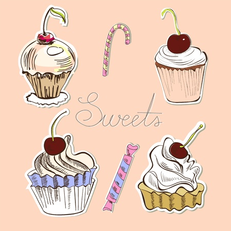 patisserie: Card with sweets