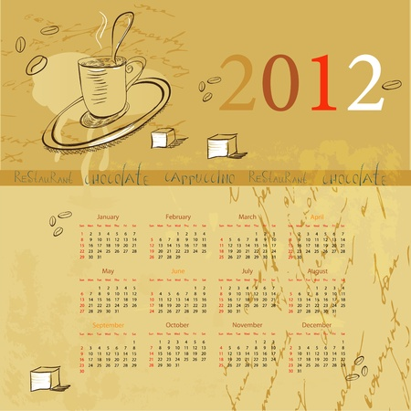 Vintage template for calendar 2012 with a cup of coffee Vector