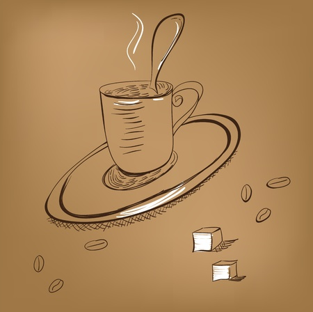 fresh brewed: A cup of coffee  Illustration