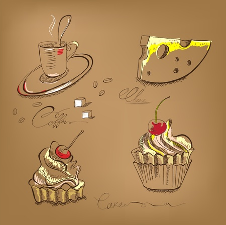 A cup of coffee cupcake and cheese Stock Vector - 11764960