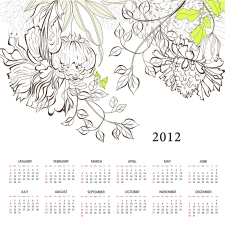 Romantic background with calendar for 2012 Stock Vector - 11764973