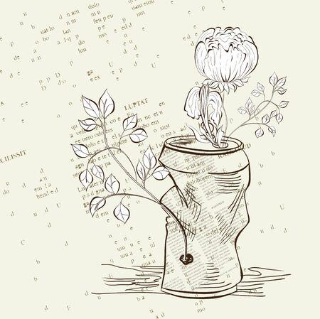 soda bottle: Crumpled jar with flower