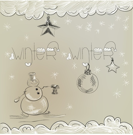 Christmas card with snowman  Stock Vector - 11764971