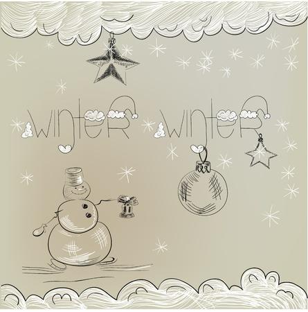 Christmas card with snowman Stock Vector - 11764971