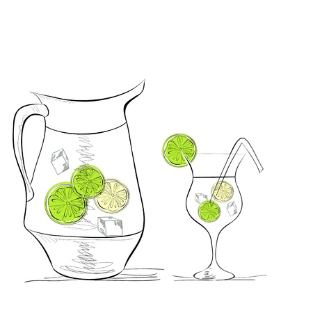 frozen glass: A glass of water with lime and pitcher Illustration