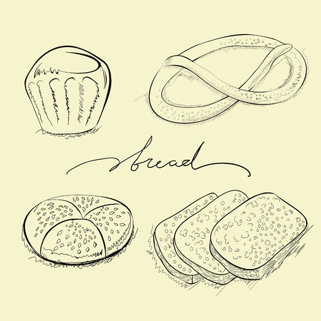 Bread, cake and pretzel Vector