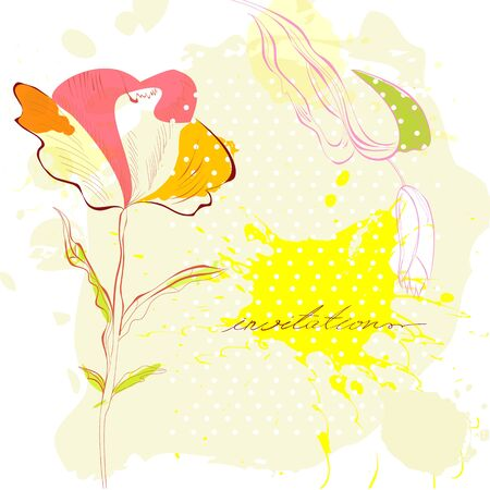 retro flowers: Template for decorative card