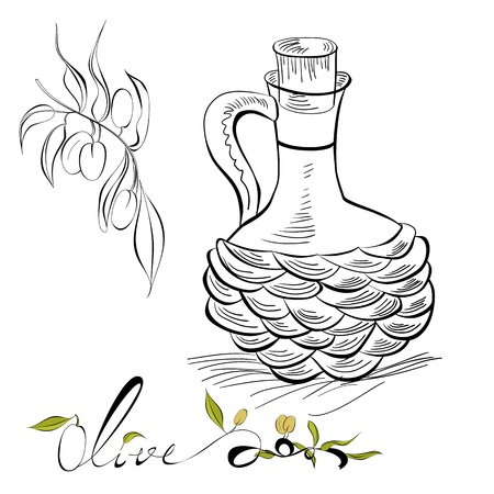 Olive and pitcher with olive oil Vector