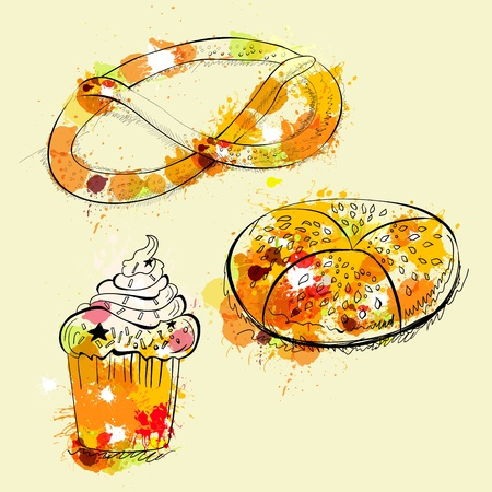 salty: Card with sweets and pretzel Illustration