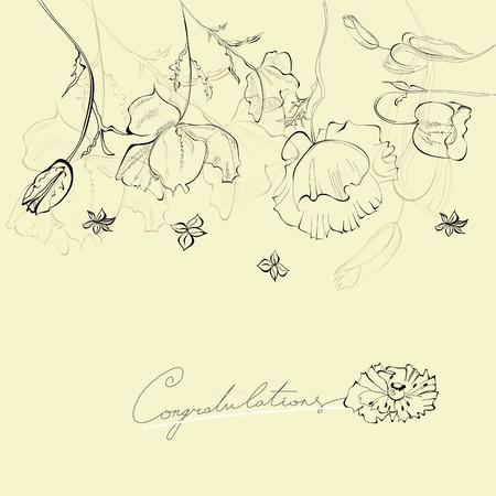 retro flowers: Decorative card