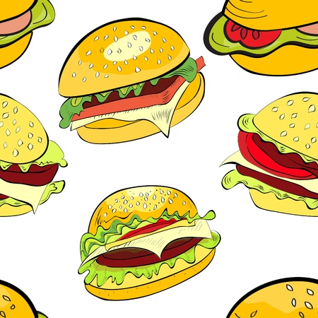 Seamless background with cartoon style hamburgers Vector