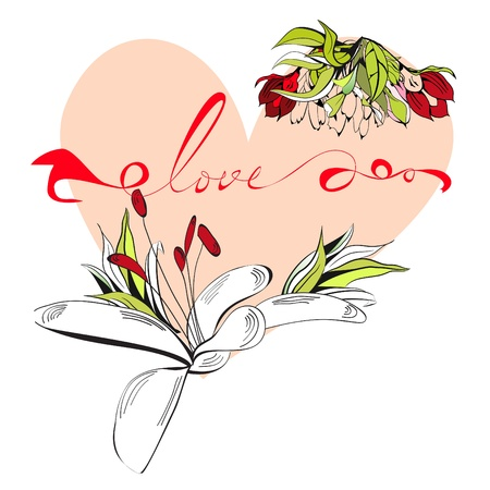 Inscription love with heart Stock Vector - 12228329