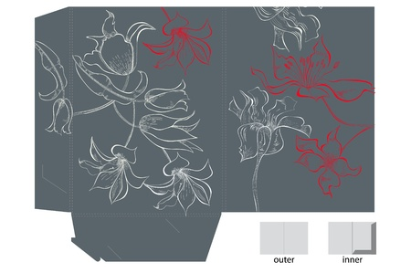 diecut: Template for folder with flowers