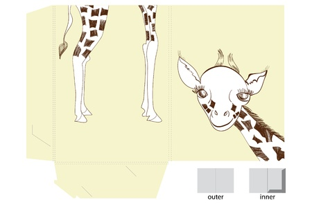girafe: Template for folder with illustration of giraffe