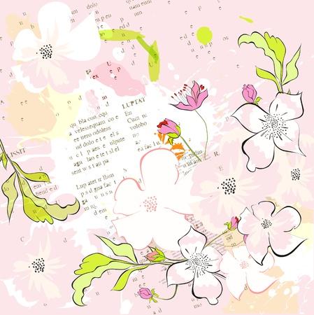 retro postcard: Colorful spring background Illustration