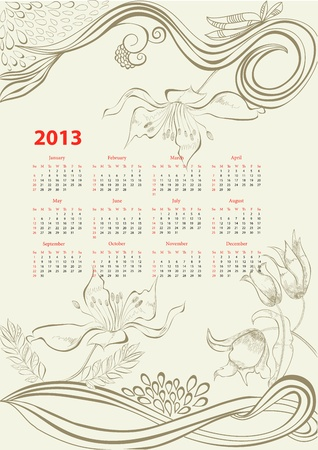Romantic background with calendar for 2013  Vector