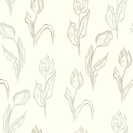 lily flowers set: Seamless wallpaper with tulips flowers