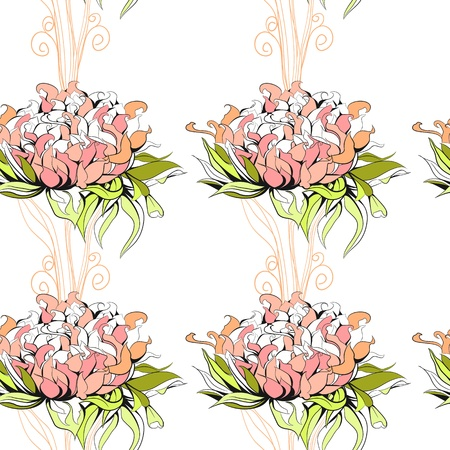 paeony: Floral seamless pattern with paeony flowers