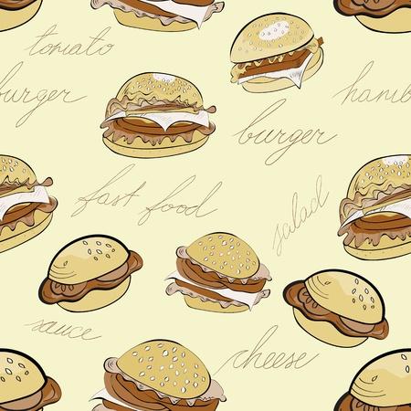 sesame seed: Seamless background with cartoon style hamburgers