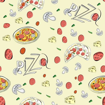 Seamless pattern with Pizza Vector