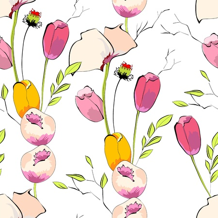 Seamless background. Tulips with poppy flowers Stock Vector - 12930970