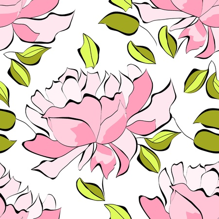 Seamless wallpaper with peony flowers  Vector