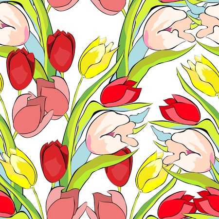 tulips: Spring seamless wallpaper with Tulips flowers  Illustration