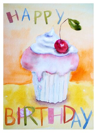custard flavor: Cake with insription Happy Birthday