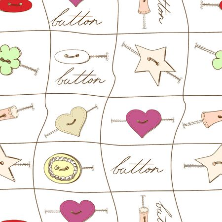 sewing button: Seamless wallpaper with various sewing button