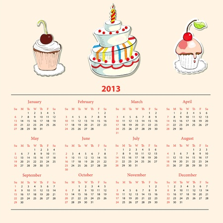 Calendar with cake for 2013 Vector