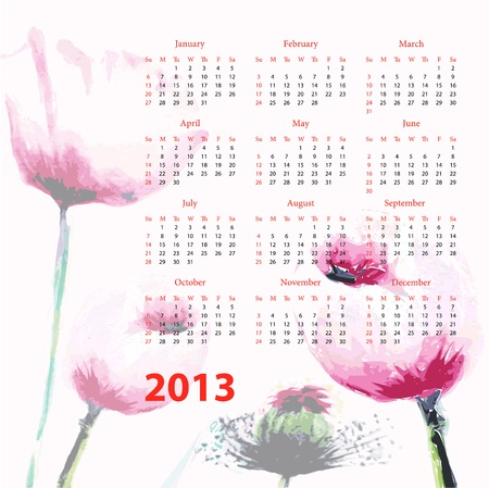 Calendar for 2013 with Poppy flowers Vector