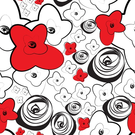Seamless wallpaper with stylized roses flowers Vector
