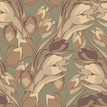 bunch flowers: Original seamless wallpaper with Tulips flowers