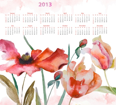 Template for calendar 2013 with tulips and poppy flowers photo