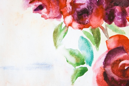 painting and stylized: Watercolor background with stylized rose flowers Stock Photo