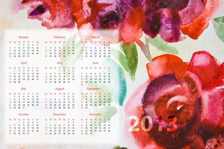 Template for calendar 2013 with roses flowers  photo