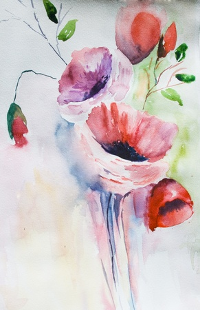 watercolor pen: Original background with beautiful flowers