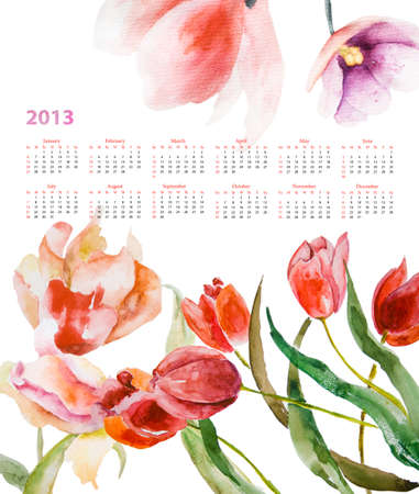 Calendar for 2013 with Beautiful tulips flowers  photo