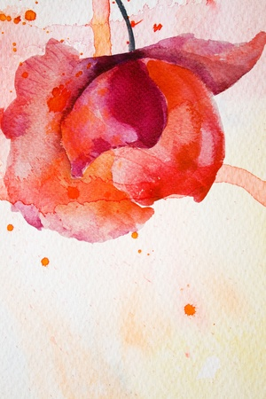 watercolor painting: Watercolor background with red flower