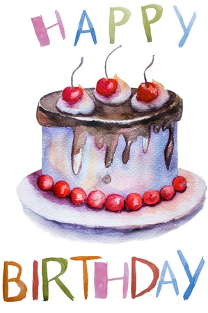 Watercolor illustration of cake  illustration